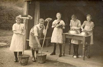 Girls doing domestic chores at home - waifs and strays